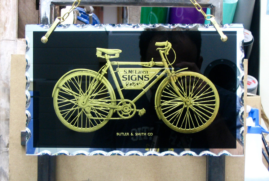 Etched Bicycle Glass Sign