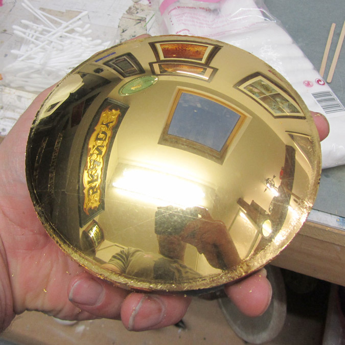 24crt Gold Leaf Slumped Head Lamp Glass
