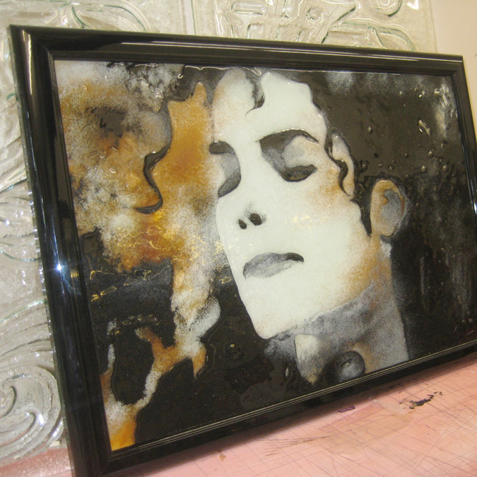 Michael Jackson Fused Glass