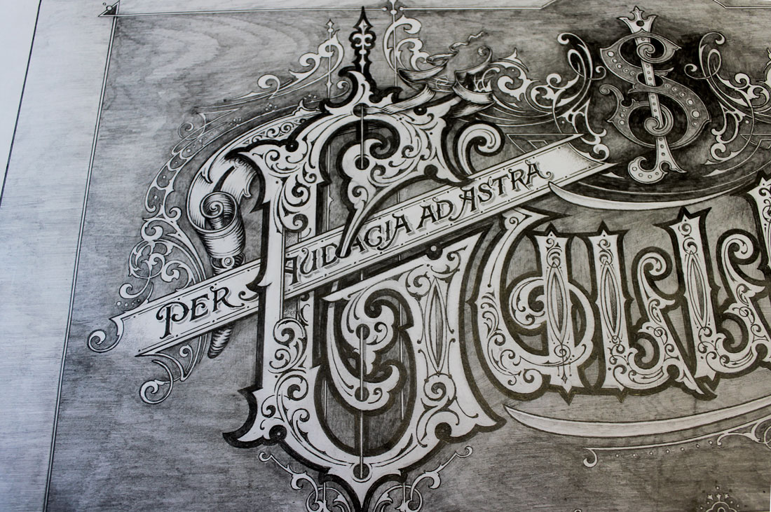Pencil Sketched rendering for Gulledge Gilded Glass sign