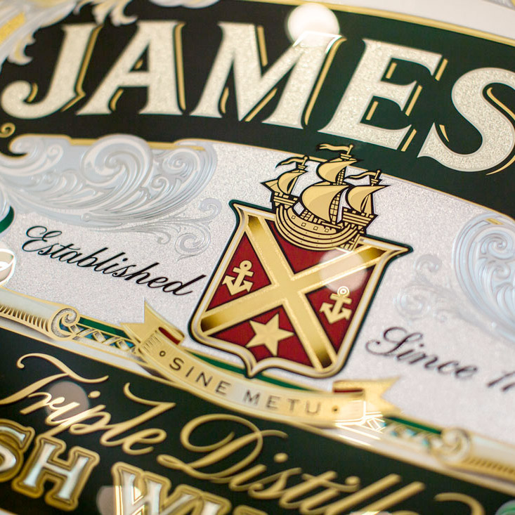 Jameson Whiskey – Ornate Gilded Glass Sign