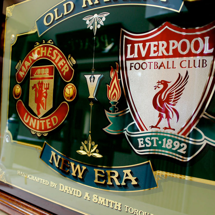 Manchester United  V Liverpool – Glass sign
